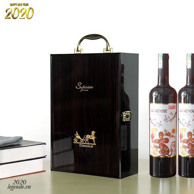 Hộp Quà tết 2 chai rượu vang Chuột Vàng + 3 đếu Cigar + Bao lì xì3