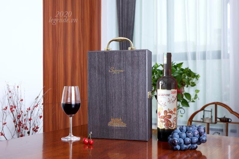 Hộp Quà tết 2 chai rượu vang Pháp + 3 đếu Cigar + Bao lì xì2